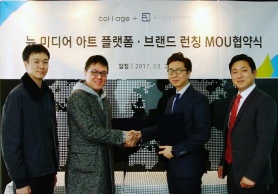 (좌측부터)꼴라쥬플러스 김용민 작가 장승효 작가, 씨앤엘프라자 이원영 대표 서정국 팀장