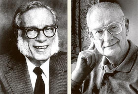 20세기 SF의 양대 거장으로 불리는 아이작 아시모프(왼쪽)와 아서 클라크. [중앙포토]