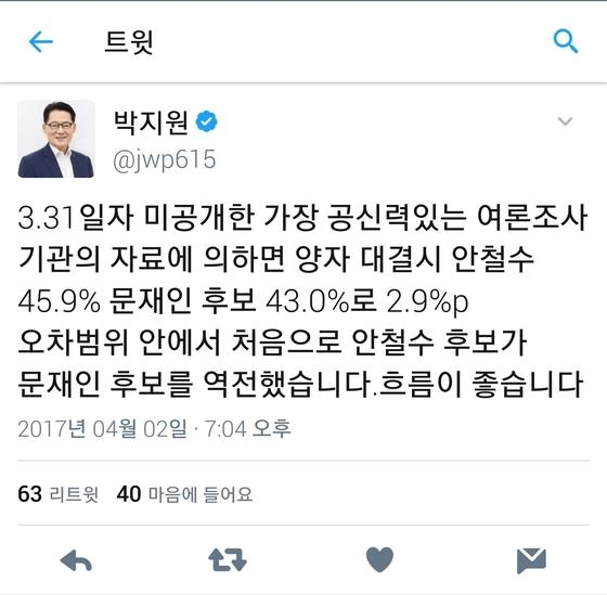 4월 2일 오후에 박지원 국민의당 대표가 자신의 트위터에 미공개 양자대결 여론조사 결과를 공개했다. 현재 이 글은 삭제된 상태다.