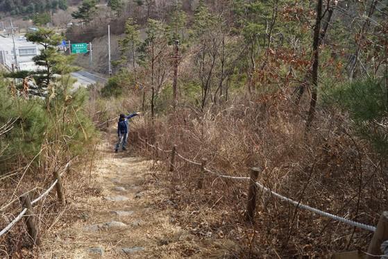 야생동물을 위한 생태이동통로의 현실. 전북 장수의 육십령 이동통로는 돌이 깔린 등산로다.