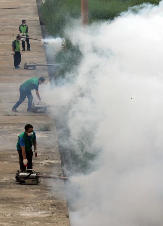 지난해 여름 모기 방제를 위한 민관 합동 방역이 서울 성동구 뚝섬유수지 체육공원에서 실시됐다. [중앙포토]