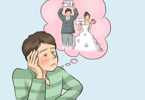 일본의 '생애 미혼율'이 사상 최고치를 기록했다. [일러스트=심수휘]