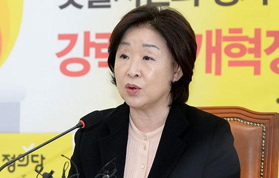 심상정 정의당 대통령 후보는 10일 국회에서 개헌 관련 입장을 발표했다. [뉴시스]