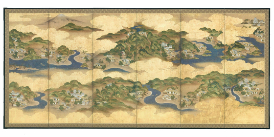 '도카이도 53차도 병풍', 각 169.5x372.1㎝, 에도 시대 18~19세기, 종이에 채색. [사진 국립중앙박물관]