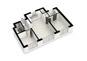 최근 수도권에서 분양된 한 아파텔의 전용면적 55㎡형 평면. 전면에 방 2개와 거실을 둔 '3베이' 형태로 평면만 놓고 보면 소형 아파트(전용면적 59㎡형)와 다르지 않다.