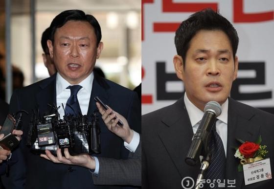 신동빈 롯데그룹 회장(왼쪽)과 정용진 신세계그룹 부회장 [중앙포토]