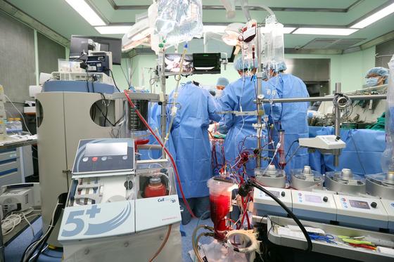18일 고려대 안암병원 수술실에서 의료진이 60대환자의 심장 수술을 위해 자가 혈액을 모아 수혈하는 셀 세이버 장비를 가동하고 있다. [김성룡 기자]