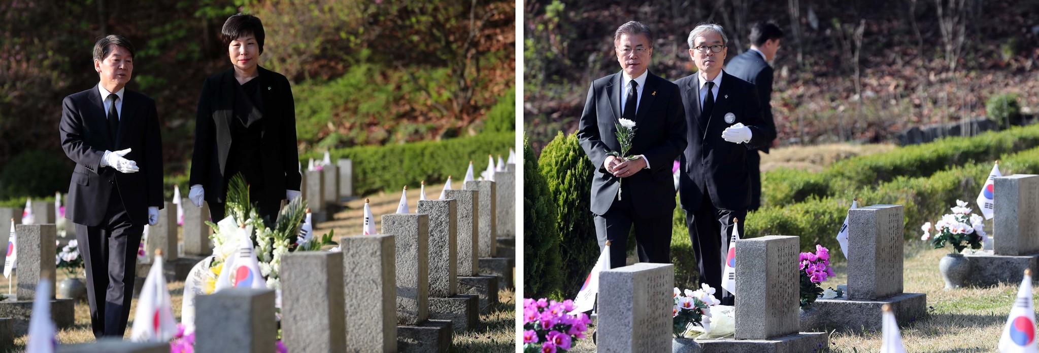 19일 안철수 국민의당 후보(왼쪽)는 오전 7시4분, 문재인 더불어민주당 후보는 오전 8시 11분에 서울 강북구 국립4.19민주묘지 내 김주열 열사묘지에 도착하고 있다.박종근 기자