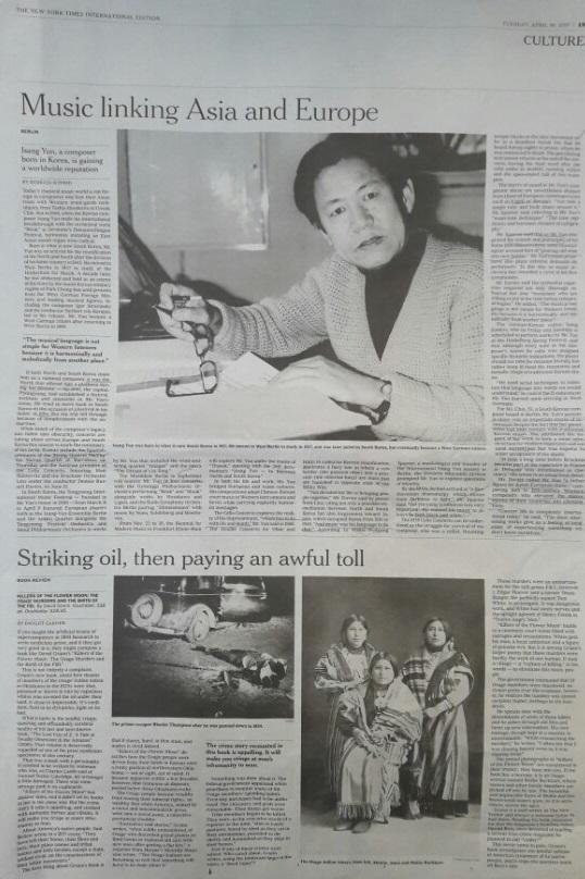 탄생 100주년을 맞는 작곡가 윤이상의 삶과 음악세계를 보도한 18일자 뉴욕타임스.