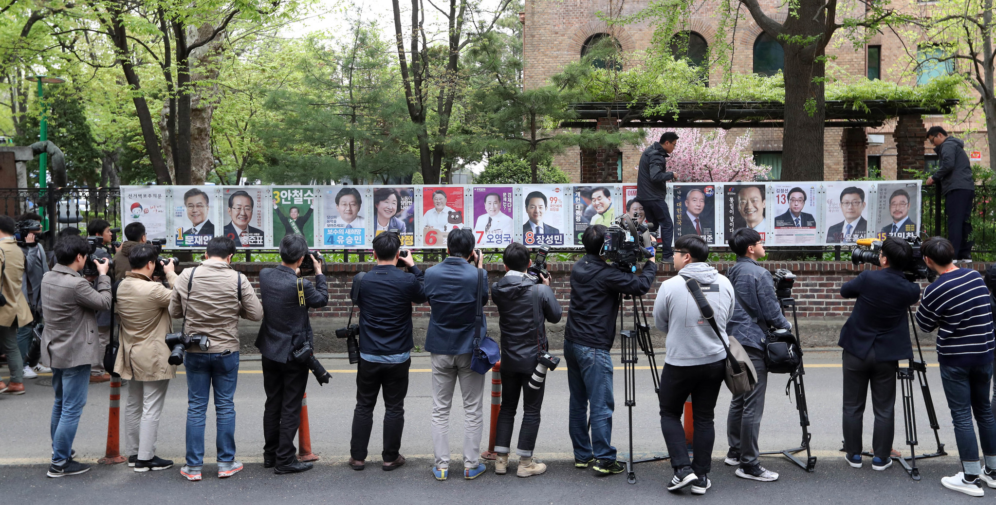 제19대 대통령선거 후보자 벽보게시가 시작된 20일 오전 서울 혜화동에서 선관위 직원들이 15명의 대선후보 벽보를 붙이고 있는 모습을 사진기자들이 일렬로 서서 촬영하고있다.강정현 기자