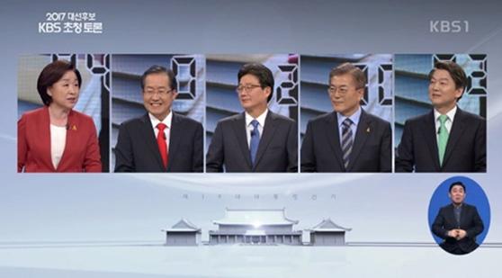 19일 서울 여의도 KBS에서 열린 두 번째 대선후보 TV토론회.