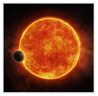 항성 'LHS 1140'(가운데)과 그 주위를 도는 행성 'LHS 1140b'의 모습을 표현한 그림. [사진 M. Weiss/CfA 홈페이지]