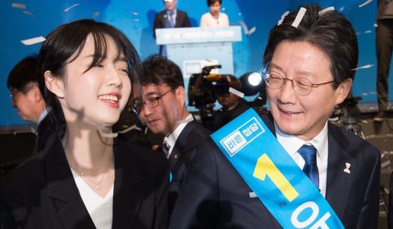 바른정당 유승민 후보(오른쪽)와 딸 유담씨 [중앙포토]