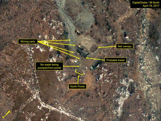 지난 19일 촬영된 위성사진에 포착된 북한 풍계리 핵실험장 인근의 활동 징후. [사진 38노스 홈페이지 캡처]