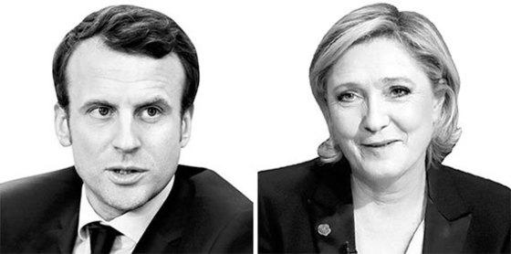 프랑스 대선 여론조사 1,2위를 달리고 있는 에마뉴엘 마크롱(왼쪽)과 마린 르펜. [중앙포토]