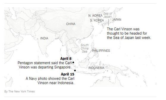 뉴욕타임스가 18일(현지시간) 홈페이지에 올린 기사에 등장하는 지도. 한반도와 일본 사이에 일본해(Sea of Japan)로 표기돼 있다.