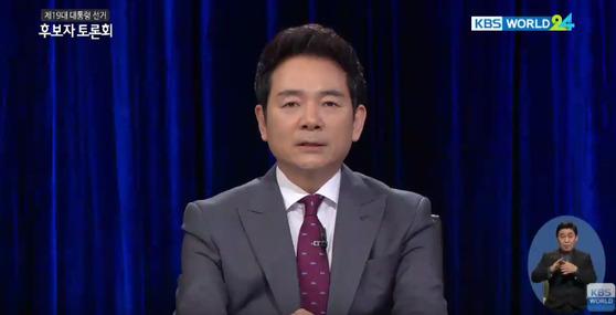 장성민 국민대통합당 대선후보다 24일 열린 대선 후보자 토론회에서 북핵 문제 해결을 위한 한반도 핵무기재배치를 주장했다. [사진 KBS 방송화면 캡쳐]