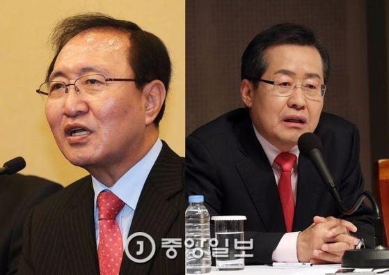 노회찬 정의당 상임선대위원장(왼쪽)과 홍준표 자유한국당 대선후보 [중앙포토]