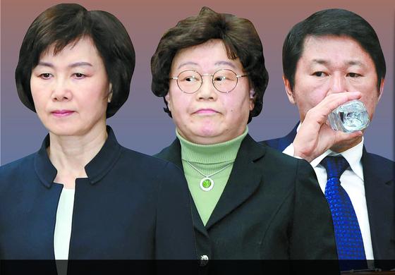 왼쪽부터 최경희 전 총장, 김경숙 전 학장, 남궁곤 전 입학처장. [중앙포토]