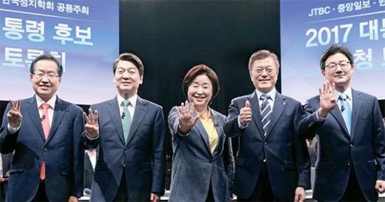 중앙일보·JTBC·한국정치학회가 공동으로 주최한 '2017 대통령 후보 초청 토론회'. 박종근 기자.