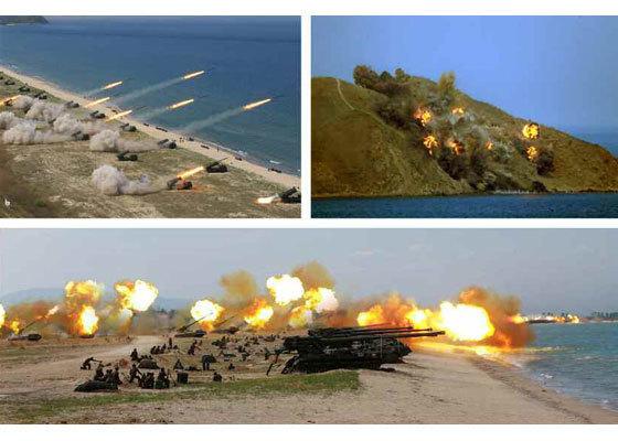 북한군 자주포 포격 모습 [사진 노동신문]