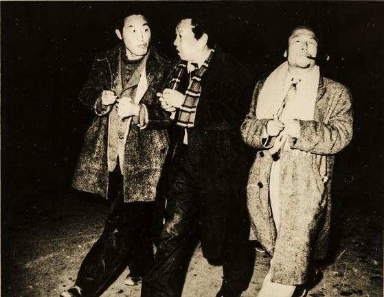 서로 절친한 벗이자동료였던 이중섭, 박고석, 한묵의 1950년대 모습(왼쪽부터). [사진 현대화랑]
