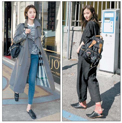 트로피컬 개버딘 트렌치코트를 입은 배우 고준희(왼쪽)와 버버리 럭색을 멘 소녀시대 유리. [사진 버버리]