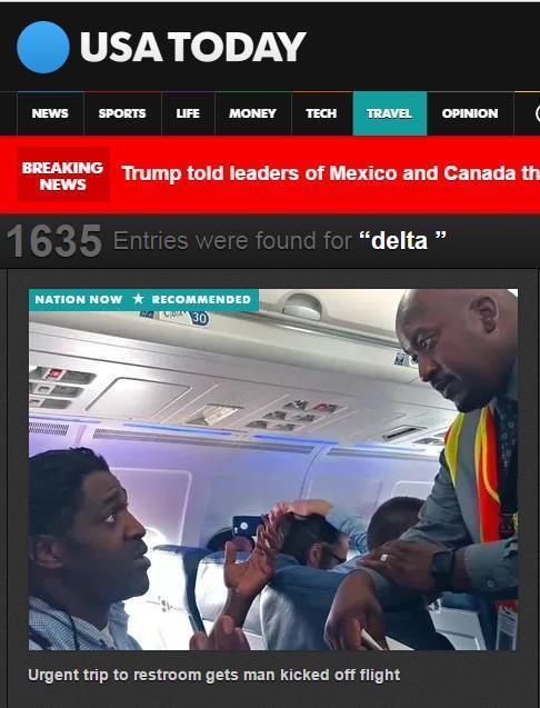 이륙전 화장실에 다녀왔다는 이유로 비행기에서 내리게 된 키마 해밀턴(왼쪽)과 그에게 짐을 싸라고 말하는 델타항공 승무원(오른쪽) [사진 USA투데이 캡쳐]