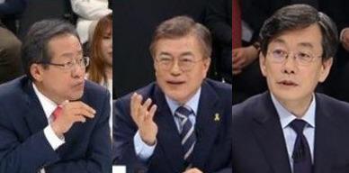 왼쪽부터 홍준표 자유한국당 후보, 문재인 더불어민주당 후보, 손석희 JTBC 앵커. [사진 JTBC]