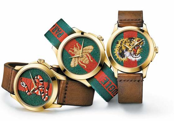 르 마르쉐 데 메르베 컬렉션은 시계 디자인에호랑이·벌·뱀 등 동물 모티프로 정교한 자수와섬세하게 절단된 유색가죽을 사용한 것이 특징이다. [사진 구찌]