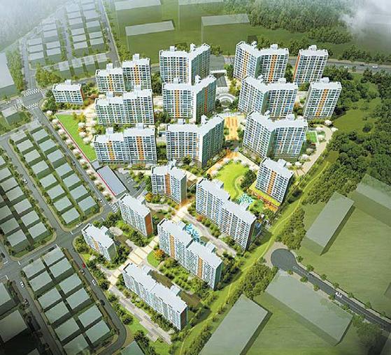 강남·판교 이웃 성남 고등지구의 첫 분양 물량인 성남 고등 호반베르디움 조감도.