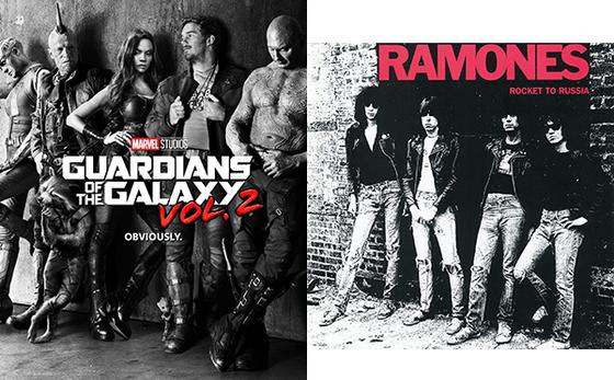 록밴드 라몬즈의 1977년 앨범 'Rocket to Russia'를 패러디 한 '가오갤2'의 포스터. 라몬즈의 노래가 영화에 나오지는 않는다. [사진=월트 디즈니 컴퍼니 코리아]