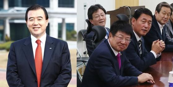 바른정당 탈당 후 자유한국당 복귀가 예상되는 홍문표(왼쪽) 의원과 바른정당 의원들 [홍문표 의원 페이스북, 중앙포토]