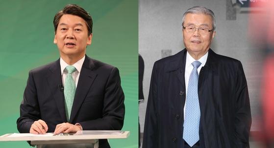 안철수 국민의당 대선 후보와 김종인 개혁공동정부준비위원장. [중앙포토]