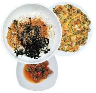 고현체험마을식당에선 미더덕비빔밥(맨 위 왼쪽)과 부침개,오만둥이 장아찌 등다양한 메뉴를 맛볼 수 있다.