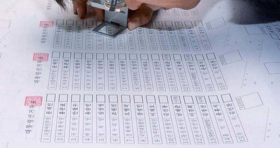 19대 대통령 선거 투표 용지 [사진 = 김성태 기자]
