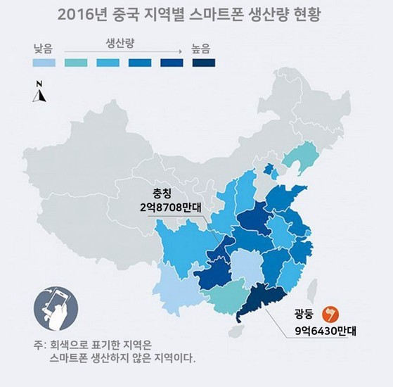 중국 지역별 스마트폰 생산 현황.