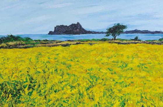 서영화가 박은성의 세 번째 개인전 '봄날의 꽃'에 출품된 작품. 고향 제주도의 유채꽃을 그렸다.
