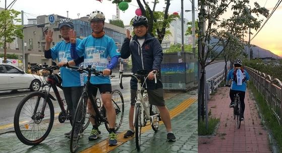 바른정당 김영우 의원은 보좌진 2명과 함께 지난달 26일부터 '안보ㆍ국론통합을 위한 희망 페달 자전거 국토대장정'을 시작했다. [사진 김영우 의원실]