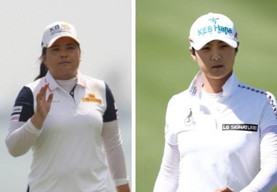 64강전을 가뿐히 통과한 우승 후보 박인비(왼쪽)와 박성현.