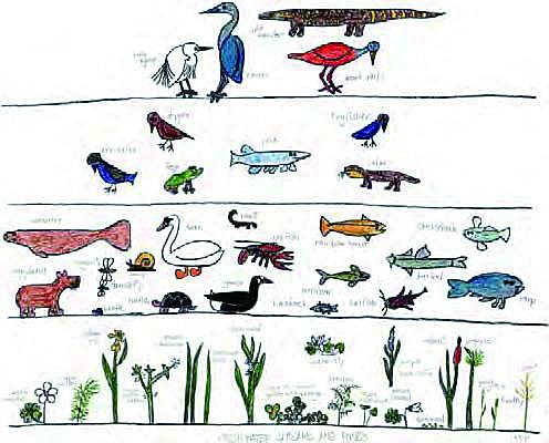 가상 세계 '카랜드'의 생태계. 지구와 마찬가지로 식물과 초식동물, 육식동물 등으로 이어지는 먹이사슬로 이어져 있다. [사진 문예출판사]