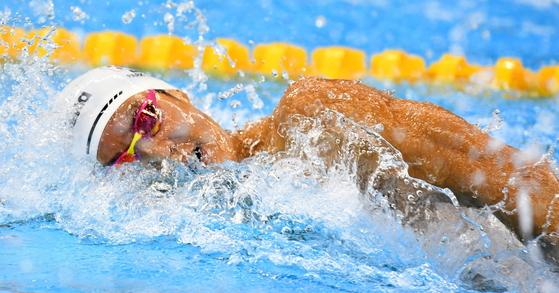 박태환이 리우데자네이루 올림픽 수영 남자 자유형 100m 예선에 출전해 49초24의 기록으로 4조 4위를 기록했다. 사진공동취재단