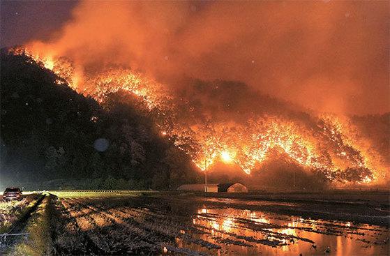 지난 6일 오후 강원도 강릉시 성산면에서 발생한 산불이 민가로 번지고 있다. 피해를 본 주민 300여 명은 성산초등학교로 대피했다. [사진 강원일보]
