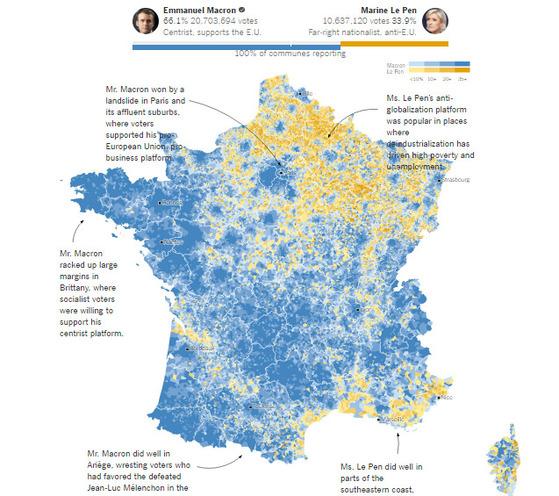 뉴욕타임스는 7일 프랑스 사람들이 어떻게 투표했는지 보여주는 그래픽 뉴스를 통해 이번 프랑스 대선을 분석했다. 파란색은 마크롱을 지지하는 이들이 많았던 지역이고, 노란색은 르펜의 지지율이 높았던 지역이다. [사진=뉴욕타임스 홈페이지]