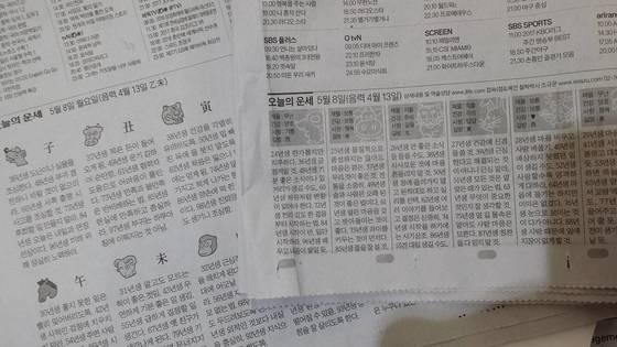 일간지 신문에 연재되는 '오늘의 운세' 지면. 9일 대선 당일 후보들이 운세에 관심이 쏠린다.