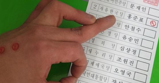 일베 회원이 디씨인사이드에 홍준표 자유한국당 대선후보를 찍은 기표용지 인증 사진을 올려 논란이 일고 있다. [사진 온라인 커뮤니티]