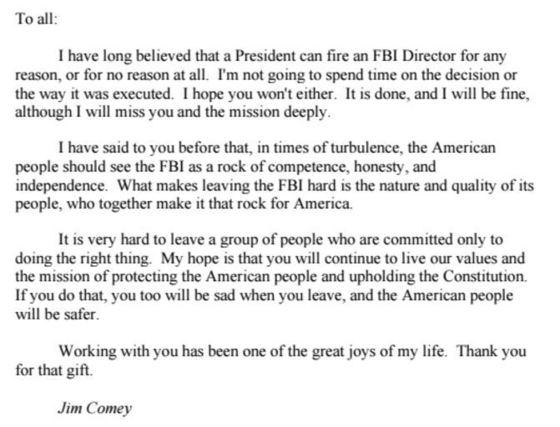 트럼프에게 해임된 FBI 제임스 코미 국장이 직원들에게 보낸 작별 편지.