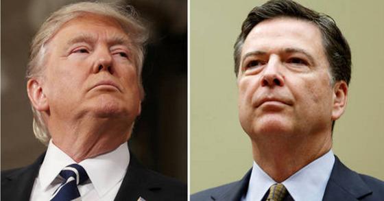 도널드 트럼프 미국 대통령(왼쪽)이 제임스 코미 미 연방수사국(FBI) 국장을 9일(현지시간) 전격 해임했다. [로이터=뉴스1]