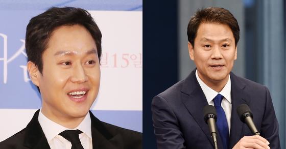 배우 정우(왼쪽)와 임종석 청와대 대통령 비서실장(오른쪽). [사진 일간스포츠, 청와대사진기자단]