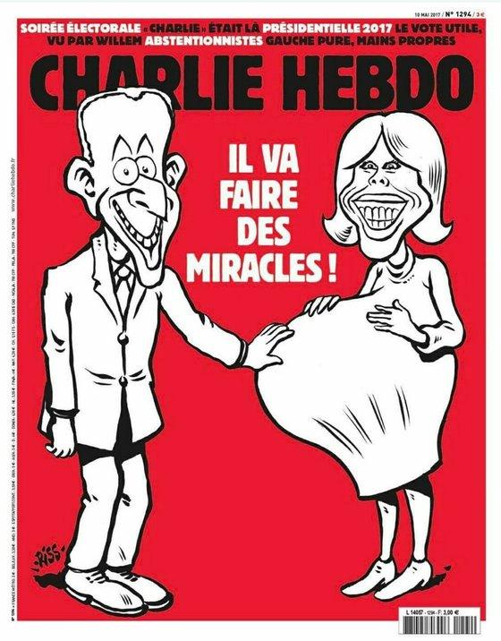 마크롱(39)의 25세 연상 부인 브리지트 트로노(64)를 임산부에 빗대며 조롱한 프랑스 풍자 주간지 '샤를리 앱도'의 만평.